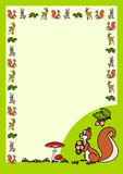 Letter with squirrel. Letter with cute cartoon animals border and a squirrel holding acorns vector illustration