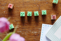 Letter stamps forming the word yeah Stock Photography