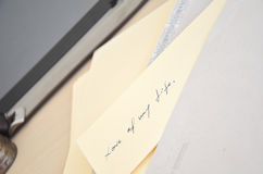 Letter. Still life objects, letter and pen, tablet, business Stock Photos