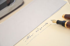Letter. Still life objects, letter and pen, tablet, business Royalty Free Stock Photo