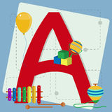 Letter a from stylized alphabet with children's toys Stock Photography