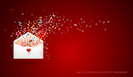 Letter of surprise  on red background. Royalty Free Stock Photography