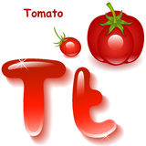 Letter T. Alphabet. English capital and uppercase letter T, stylized color of tomato juice. red tomato and cherry tomatoes. vector illustration vector illustration