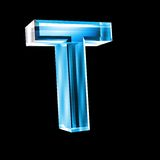 Letter T in blue glass 3D Stock Photography