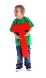 Letter T boy Royalty Free Stock Images