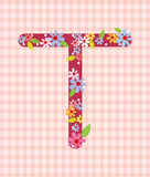 The letter T Bright floral element of colorful alphabet in  Royalty Free Stock Photos