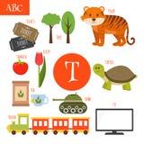 Letter T. Cartoon alphabet for children. Tiger, turtle, tv, tea,. Letter T. Cartoon alphabet for children. Vector illustration vector illustration