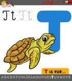 Letter t with cartoon turtle animal Royalty Free Stock Photography