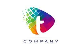 Letter T Colourful Rainbow Logo Design. Letter T Colourful Logo. Rainbow T Letter Icon with Shattered Blocks Royalty Free Illustration