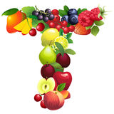 Letter T composed of different fruits with leaves Royalty Free Stock Photography