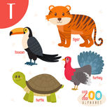 Letter T. Cute animals. Funny cartoon animals in vector. ABC boo. K. Vector illustration Vector Illustration