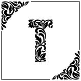 The letter T. Decorative Font with swirls and floral elements. Vintage style.  Stock Photography