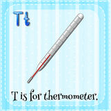 Letter T. Flashcard of a letter T with a thermometer stock illustration
