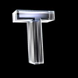 Letter T in glass 3D Royalty Free Stock Images