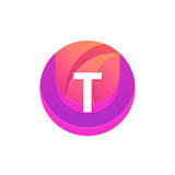 Letter T logo abstract circle shape element. Vector round compan Stock Photography