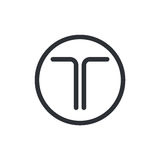 Letter T logo. Minimal illustration of letter T that can be used for logo or as isolated graphic element Stock Photo