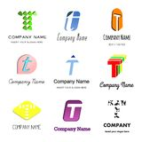 Letter T logo. Set of alphabetical Logo Design with different moods and Concepts - Letter T Stock Photography