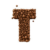 Letter T made of chocolate bubbles, milk chocolate concept, 3d render.  royalty free illustration