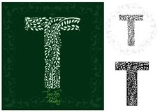 Leaves alphabet, Letter T Stock Photography