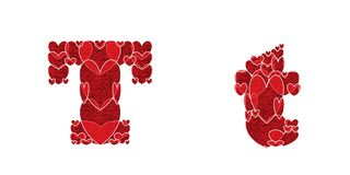 Letter T, made from hearts. Letter T, uppercase and lowercase of alphabet made from hearts Stock Images