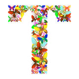 The letter T made up of lots of butterflies of different colors Royalty Free Stock Photos