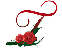Letter T red floral  illustration. Red rose decorated Letter T font , colorful and Stock Photo
