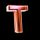 Letter T in red glass 3D Royalty Free Stock Photos