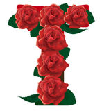 Letter T red roses  illustration Royalty Free Stock Photos