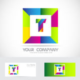 Letter T square logo colors Royalty Free Stock Images