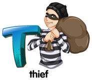 A letter T for thief. Illustration of a letter T for thief on a white background Stock Photography