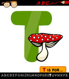 Letter t with toadstool cartoon illustration Stock Photo