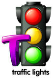 A letter T for traffic lights Royalty Free Stock Images