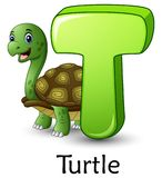 Letter T is for Turtle cartoon alphabet. Illustration of Letter T is for Turtle cartoon alphabet Royalty Free Stock Photography