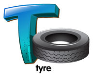 A letter T for tyre Stock Photography