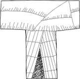 Letter T Wigwam Outline Stock Image