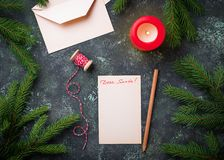 Letter with text Dear Santa. Top view Royalty Free Stock Photography