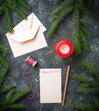 Letter with text Dear Santa. Top view Royalty Free Stock Photo