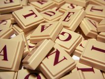 Letter Tile Jumble 2. A jumble of letter tiles royalty free stock photography