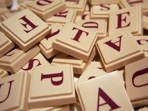 Letter Tile Jumble. A junble of letter tiles royalty free stock photo