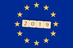 Letter Tiles 2019 With EU Flag, 3d illustration royalty free stock photography