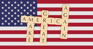 Letter Tiles Make America Great Again With US Flag, 3d illustration royalty free stock images