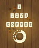 Letter tiles spelling i love coffee Royalty Free Stock Image