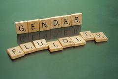 Social Issues Scrabble Letter Tiles Gender Fluidity. Letter tiles spelling out Gender Fluidity, to discuss controversial policies and interpretations of the Royalty Free Stock Photo