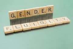Social Issues Scrabble Letter Tiles Gender Fluidity. Letter tiles spelling out Gender Fluidity, to discuss controversial policies and interpretations of the Stock Photos