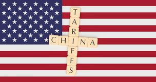 Letter Tiles Tariffs And China With US Flag, 3d illustration royalty free stock photography