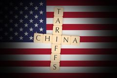 Letter Tiles Tariffs And China With US Flag, 3d illustration royalty free stock image