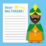 Letter to King Balthazar. Space for text. vector royalty free illustration