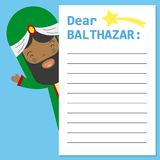 Letter to King Balthazar. Space for text. vector stock illustration