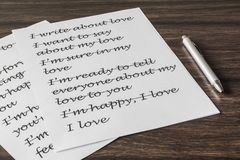 Letter to a loved one. Words, phrase, letter about great feelings for a loved one. Desire to express your emotions. Search for the main words royalty free stock image