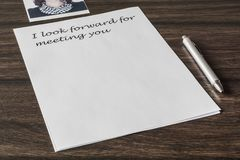 Letter to a loved one. Words, phrase, letter about great feelings for a loved one. Desire to express your emotions. Search for the main words royalty free stock photos